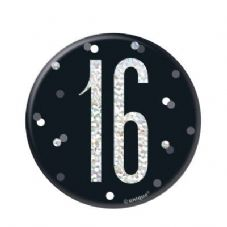 Black Glitz '16' Birthday Badge